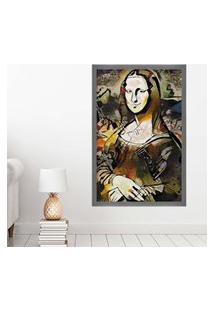 Quadro Love Decor Com Moldura Monalisa Grafitti Metalizado Grande