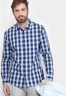 Camisa Xadrez Forum Tricoline Masculina - Masculino-Azul