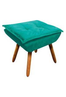 Puff Decorativo D'Rossi Opala Suede Verde Turquesa