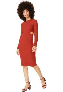Vestido Tricot Cut Out Cintura