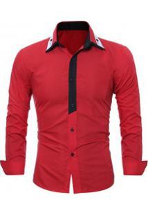 Camisa Social Masculina Slim Fit Manga Longa - Vermelha
