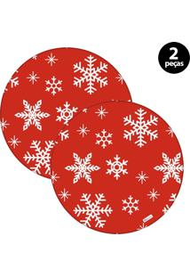 Capa Para Sousplat Mdecore Natal Flocos De Neve Vermelho 2Pçs