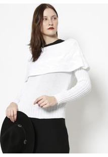Ponto Aguiar Blusa Em Tricã´ Com Sobreposiã§Ã£O Branca