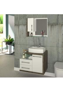 Conjunto Para Banheiro Gabinete Com Cuba Rt41 E Espelheira Legno 650W Compace Branco/Carvalho Dark