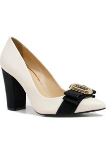 Sapato Zariff Shoes Scarpin Nobuck Verniz - Feminino-Branco