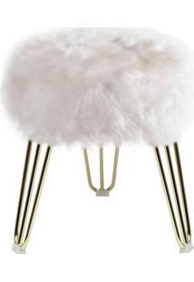 Puff Cloud Pele Sintetica Branca Com Base Dourada 46 Cm (Alt) - 49077 - Sun House