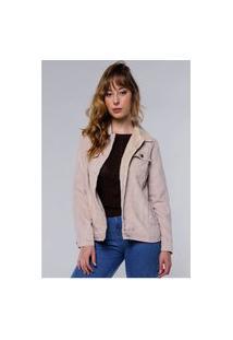 Jaqueta Vintage Em Cotelê Com Gola De Pelinhos Sob Com Bolsos Areia Claro