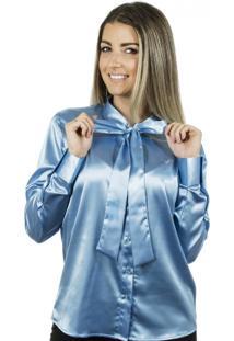 Camisa Pimenta Rosada Gola Laço Aqua Azul Claro