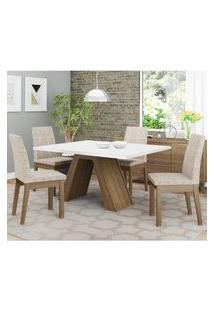 Conjunto Sala De Jantar Madesa Liz Mesa Tampo De Madeira Com 4 Cadeiras Rustic/Branco/Fendi