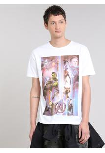 Camiseta Masculina Os Vingadores Manga Curta Gola Careca Off White