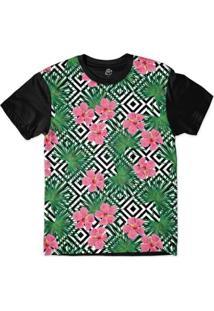 Camiseta Bsc Padrões E Listras Flores E Folhas Sublimada Masculina - Masculino-Branco