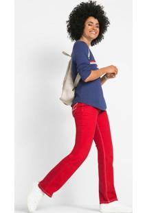 Calça Jeans Com Contraste Vermelha
