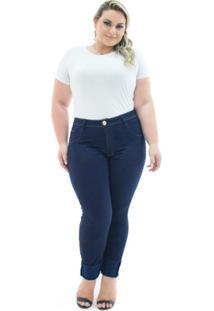 2bcdde3df ... Calça Jeans Confidencial Extra Plus Size Legging Cintura Alta Feminina  - Feminino-Azul Escuro