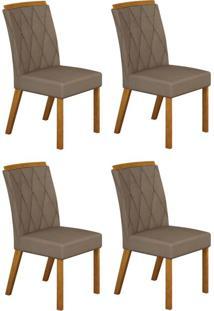 Conjunto Com 4 Cadeiras Esmeralda Imbuia Mel E Veludo Camurça