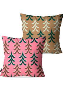 Kit Pump Up Com 2 Capas Para Almofadas Decorativas Natalinas Pinheiros Coloridos 45X45Cm