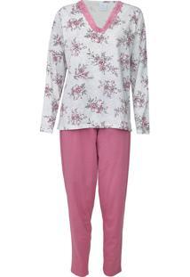 Pijama Pzama Floral Cinza/Rosa