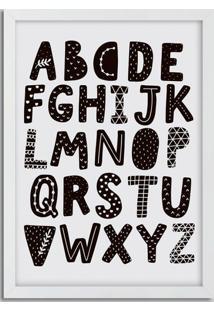 Quadro Decorativo Com Moldura Alfabeto Branco