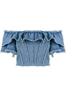 Dolce & Gabbana Blusa Jeans Ombro A Ombro - Azul