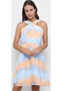 Vestido Curto Jolie Tie Dye Rodado - Feminino-Azul
