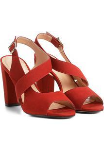 Sandália Couro Shoestock Salto Grosso Feminina - Feminino-Laranja Escuro