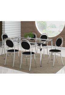 Mesa 328 Vidro Incolor Cromada Com 6 Cadeiras 190 Preta Carraro