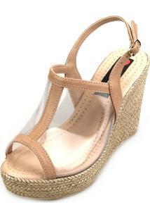 Sandália Anabela Love Shoes Alta Vinil Transparente Nude