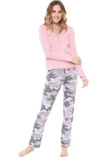 Pijama Malwee Liberta Militar Rosa/Cinza