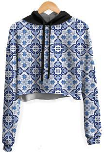 Blusa Cropped Moletom Feminina Overfe Azulejo Português Md01 - Kanui