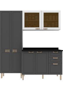 Cozinha Modulada 4 Peças Com Tampo E Nevada 5672Vdtp-Multimóveis - Branco Premium / Grafite Premium