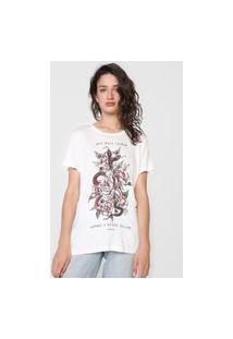 Camiseta Colcci Flores Branca