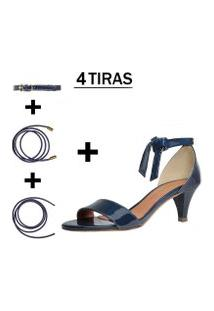 Sandália Troca Tira Salto Baixo Fino Verniz Azul Marinho Mod. 2052-2