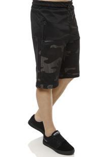 Bermuda De Tecido Masculina Camuflada Preto