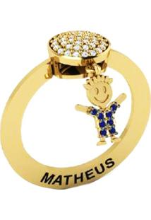 Anel La Madame Co Pingente Ouro 18K Menino Safira Com Brilhantes Dourado