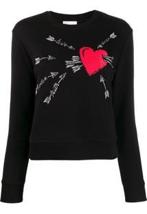 Red Valentino Suéter Com Bordado 'Love Heart' - Preto