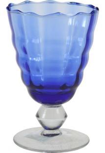 Jogo Taças De Vinho Vidro Cristalino Lapidado Azul 6 Pçs
