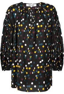 Dvf Diane Von Furstenberg Blusa Com Poás - Preto