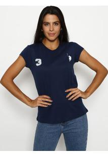 "Camiseta ""3"" Com Recortes- Azul Marinho & Brancaclub Polo Collection"