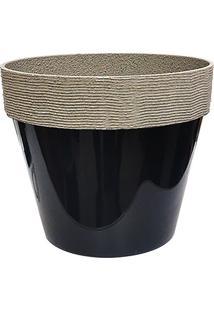 Vaso Metalizado Com Relevos- Preto & Bege- 20Xø23Cm
