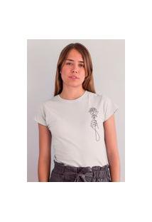Camiseta Feminina Mirat Mão De Flor Branca