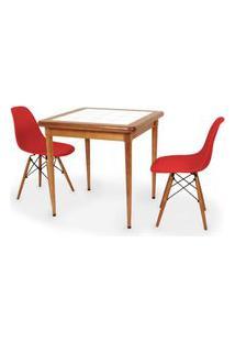 Conjunto Mesa De Jantar Em Madeira Imbuia Com Azulejo + 2 Cadeiras Eames Eiffel - Vermelho