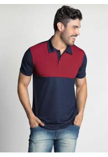 Camisa Polo Bicolor Vermelho E Marinho