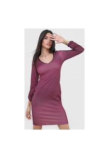 Vestido Lança Perfume Curto Estampado Vinho/Preto
