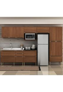 Cozinha Compacta Calábria 13 Portas 4 Gavetas Nogueira/Malt - Multimóveis