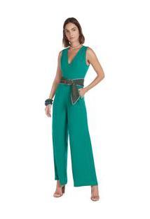 Macacão Maria.Valentina Pantalona Com Bolso Verde