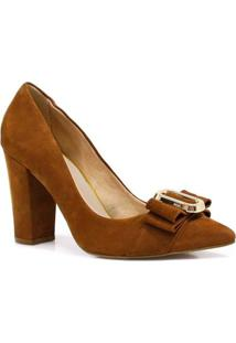 Sapato Zariff Shoes Scarpin Nobuck Verniz - Feminino-Marrom