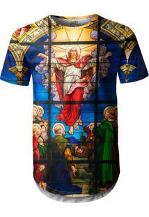 Camiseta Longline Over Fame Vitral Jesus Multicolorido