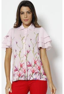 Camisa Com Babados - Rosa & Verde - Alfredaalfreda