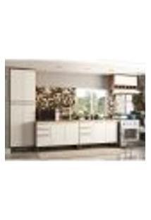 Cozinha Compacta Napoli Prime 11 Pt 4 Gv Castanho E Branco