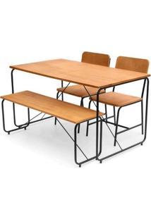 Conjunto Class Mesa Jantar + 2 Cadeiras + Banco Mel Base Preta - 62555 - Sun House