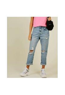 Calça Jeans Feminina Reta Destroyed Marisa